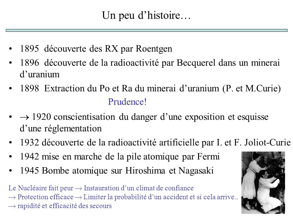 Un peu dhistoire… 1895 découverte des RX par Roentgen 1896 découverte de la radioactivité par Becquerel dans un minerai duranium 1898 Extraction du Po