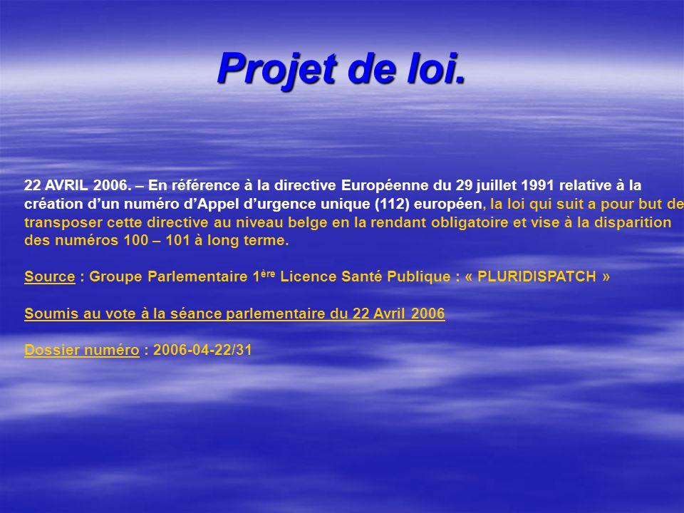 Projet de loi. 22 AVRIL 2006. – En référence à la directive Européenne du 29 juillet 1991 relative à la création dun numéro dAppel durgence unique (11