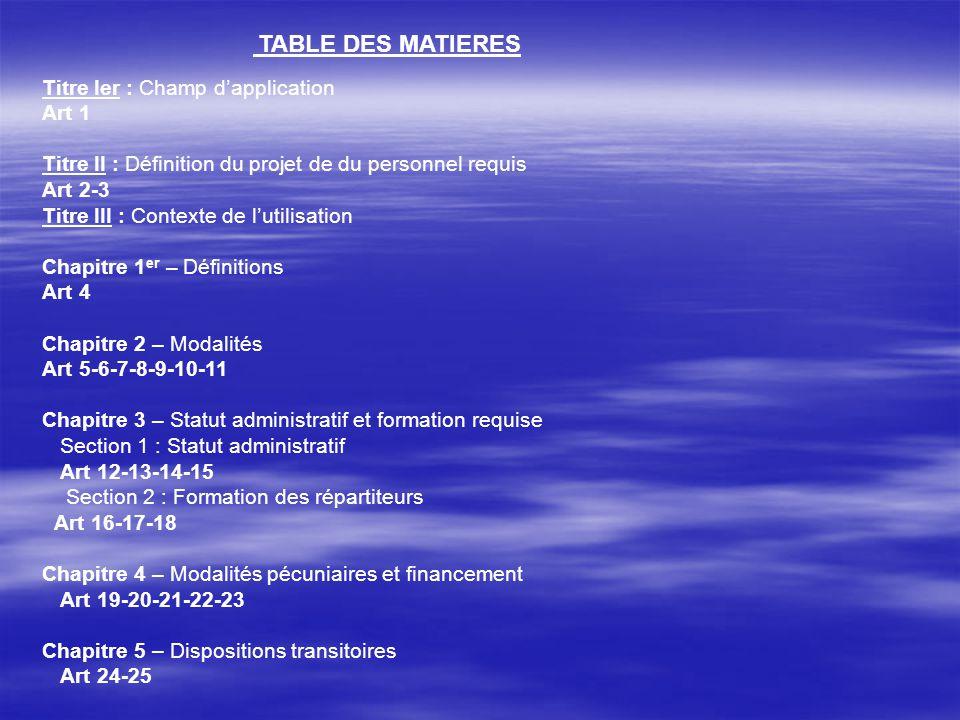 TABLE DES MATIERES Titre Ier : Champ dapplication Art 1 Titre II : Définition du projet de du personnel requis Art 2-3 Titre III : Contexte de lutilis