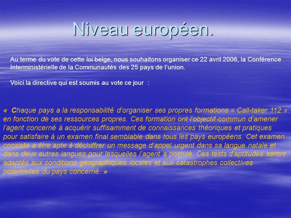 Niveau européen. Niveau européen. Au terme du vote de cette loi belge, nous souhaitons organiser ce 22 avril 2006, la Conférence Interministérielle de