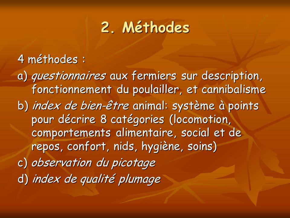 2. Méthodes 4 méthodes : a) questionnaires aux fermiers sur description, fonctionnement du poulailler, et cannibalisme b) index de bien-être animal: s