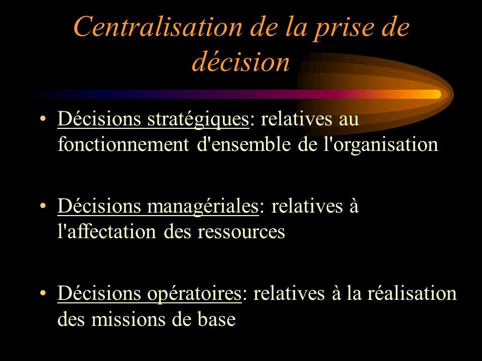 Centralisation de la prise de décision Décisions stratégiques: relatives au fonctionnement d'ensemble de l'organisation Décisions managériales: relati