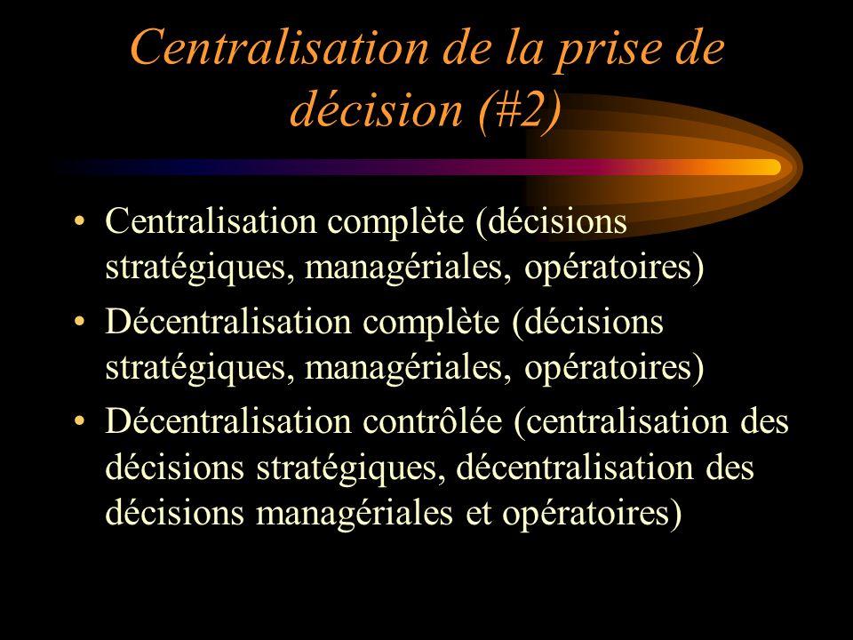 Centralisation de la prise de décision (#2) Centralisation complète (décisions stratégiques, managériales, opératoires) Décentralisation complète (déc