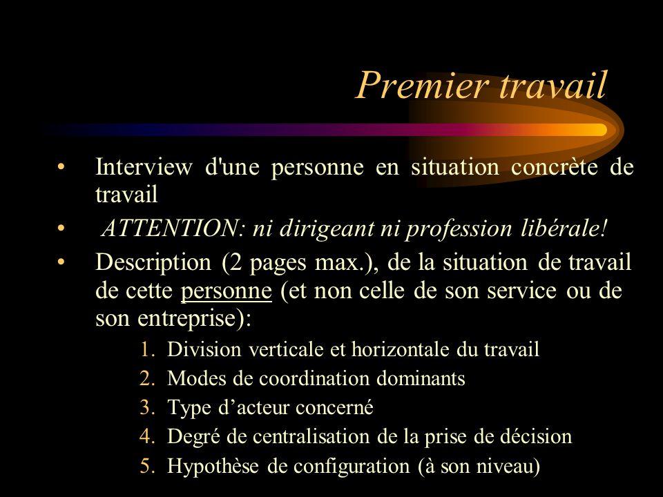 Premier travail Interview d'une personne en situation concrète de travail ATTENTION: ni dirigeant ni profession libérale! Description (2 pages max.),