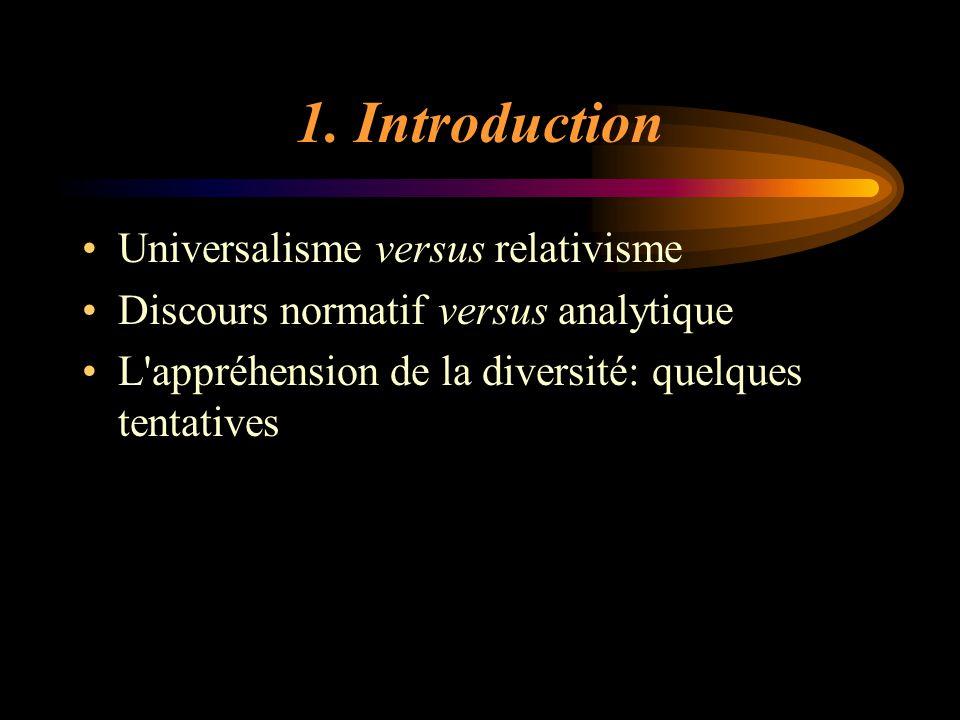 1. Introduction Universalisme versus relativisme Discours normatif versus analytique L'appréhension de la diversité: quelques tentatives