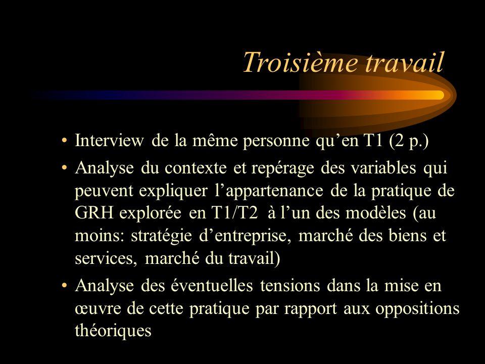 Troisième travail Interview de la même personne quen T1 (2 p.) Analyse du contexte et repérage des variables qui peuvent expliquer lappartenance de la