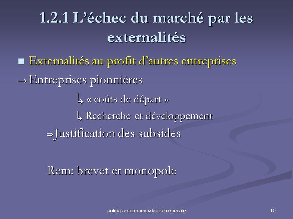 10politique commerciale internationale 1.2.1 Léchec du marché par les externalités Externalités au profit dautres entreprises Externalités au profit d