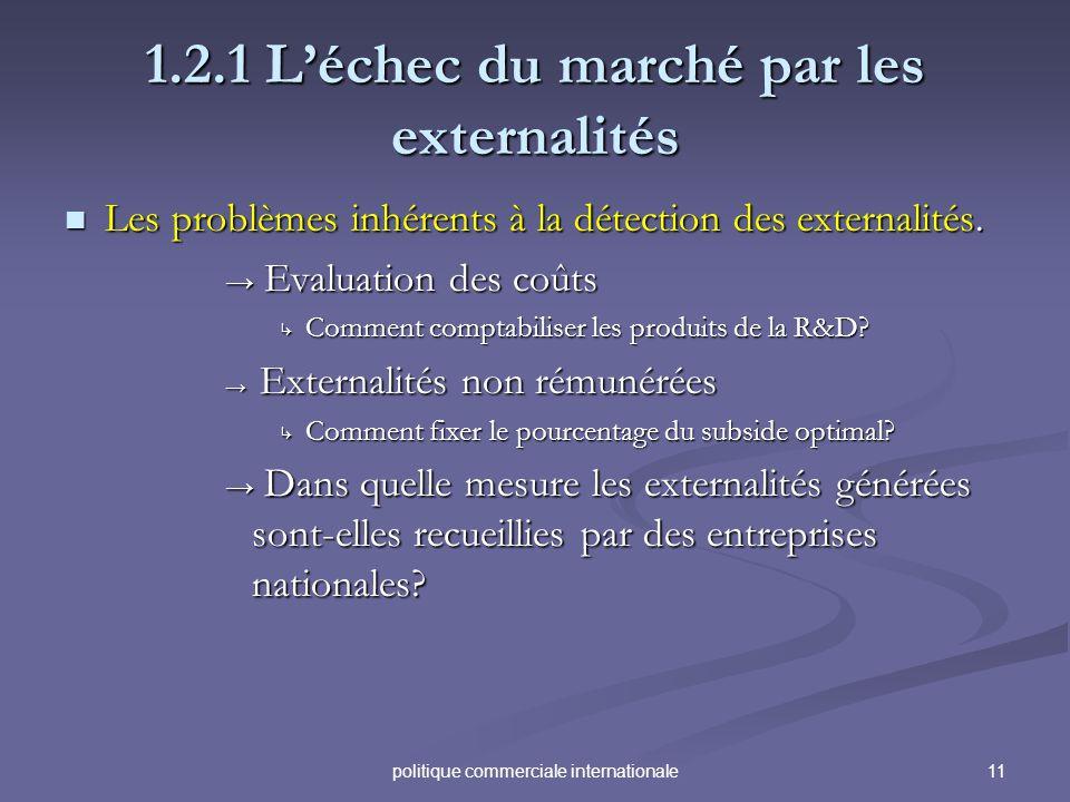 11politique commerciale internationale 1.2.1 Léchec du marché par les externalités Les problèmes inhérents à la détection des externalités. Les problè