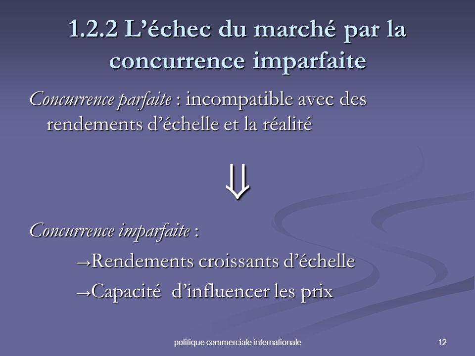 12politique commerciale internationale 1.2.2 Léchec du marché par la concurrence imparfaite Concurrence parfaite : incompatible avec des rendements dé