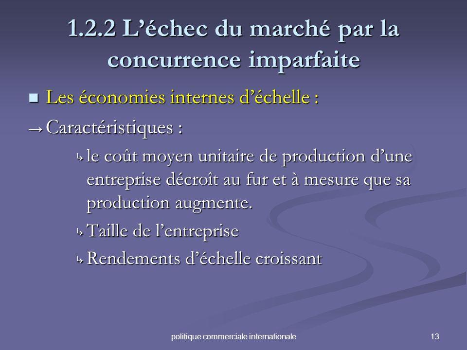 13politique commerciale internationale 1.2.2 Léchec du marché par la concurrence imparfaite Les économies internes déchelle : Les économies internes d
