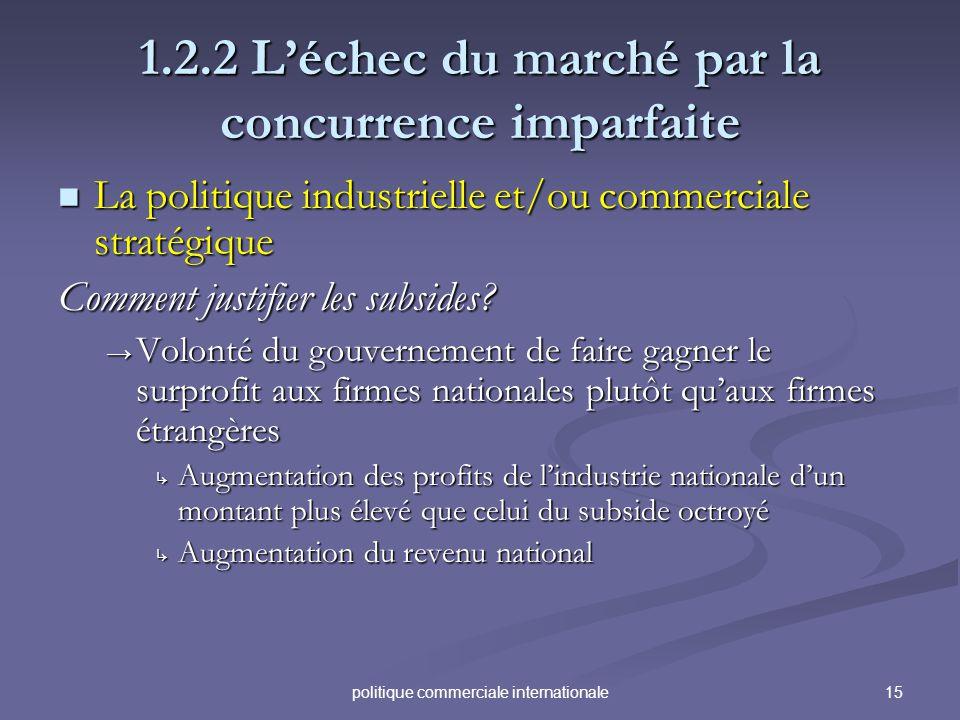 15politique commerciale internationale 1.2.2 Léchec du marché par la concurrence imparfaite La politique industrielle et/ou commerciale stratégique La