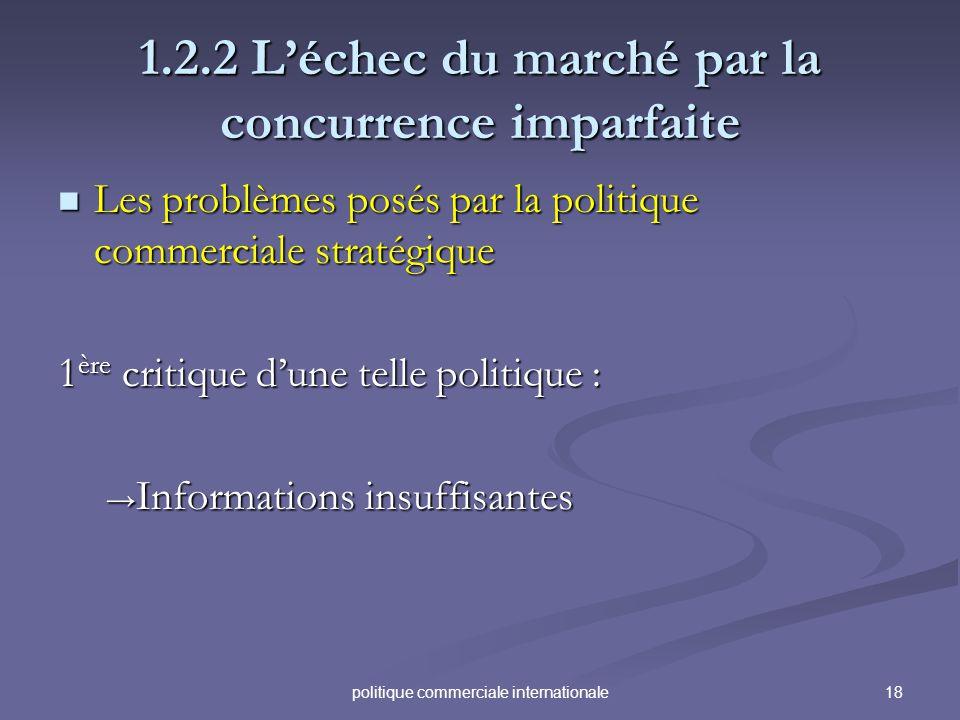 18politique commerciale internationale 1.2.2 Léchec du marché par la concurrence imparfaite Les problèmes posés par la politique commerciale stratégiq