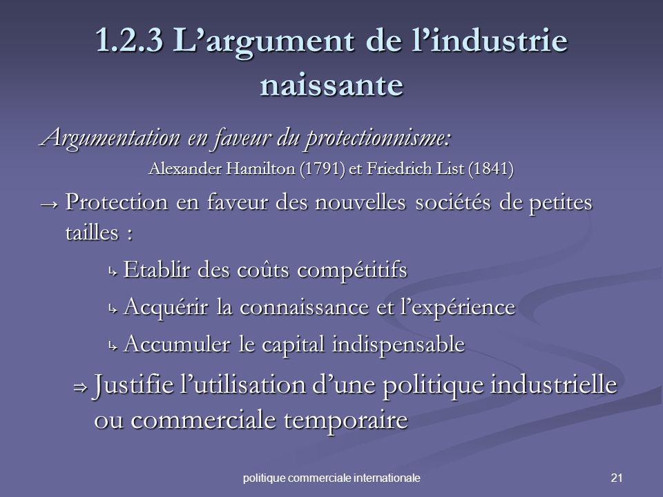 21politique commerciale internationale 1.2.3 Largument de lindustrie naissante Argumentation en faveur du protectionnisme: Alexander Hamilton (1791) e