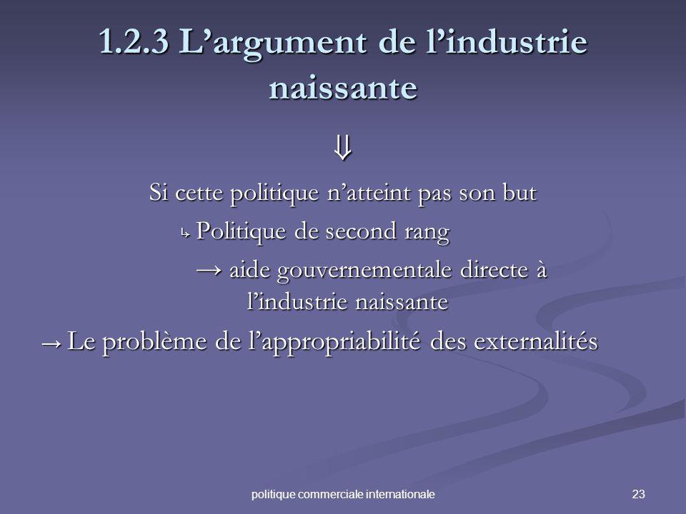 23politique commerciale internationale 1.2.3 Largument de lindustrie naissante Si cette politique natteint pas son but Politique de second rang Politi