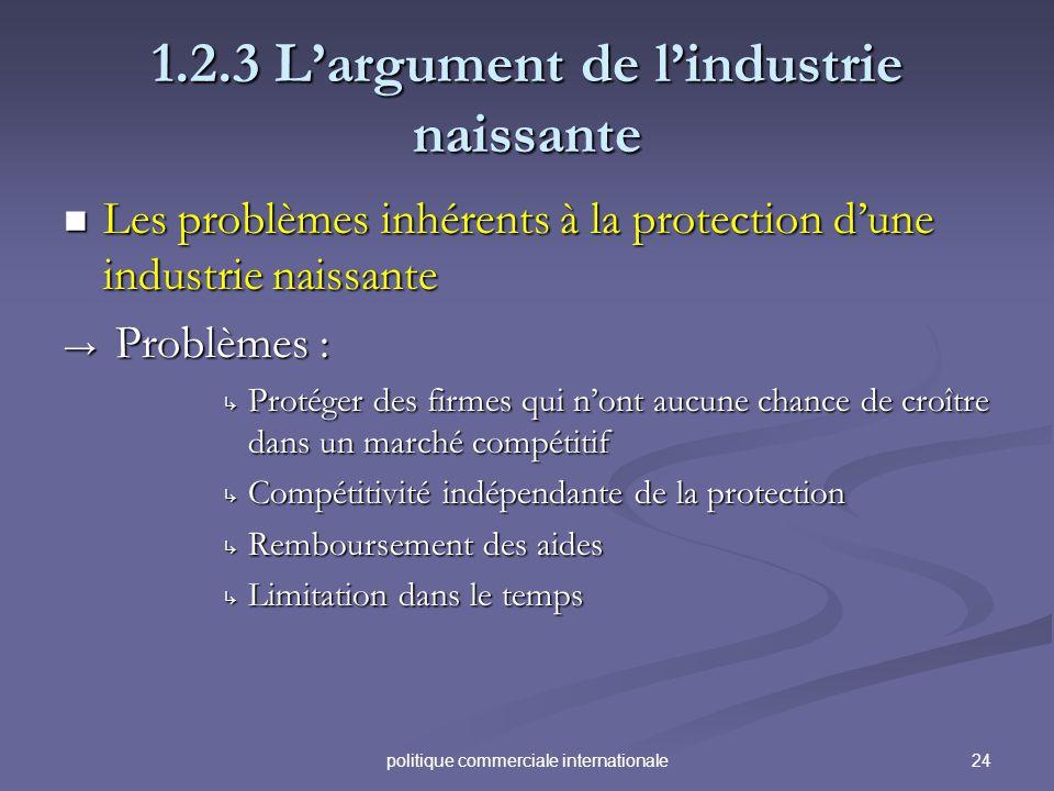 24politique commerciale internationale 1.2.3 Largument de lindustrie naissante Les problèmes inhérents à la protection dune industrie naissante Les pr