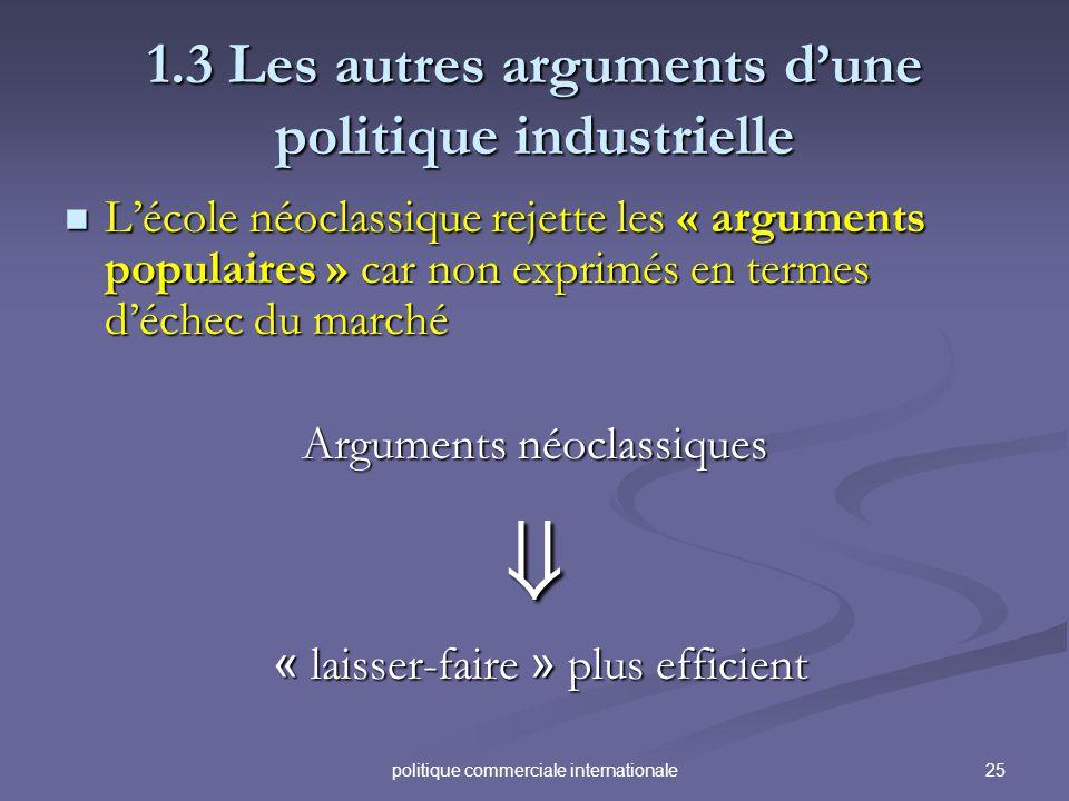 25politique commerciale internationale 1.3 Les autres arguments dune politique industrielle Lécole néoclassique rejette les « arguments populaires » c