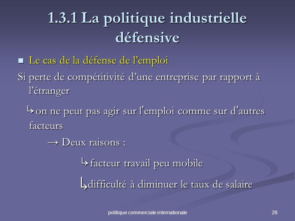 28politique commerciale internationale 1.3.1 La politique industrielle défensive Le cas de la défense de lemploi Le cas de la défense de lemploi Si pe