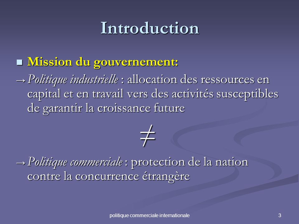 3politique commerciale internationale Introduction Mission du gouvernement: Mission du gouvernement: Politique industrielle : allocation des ressource