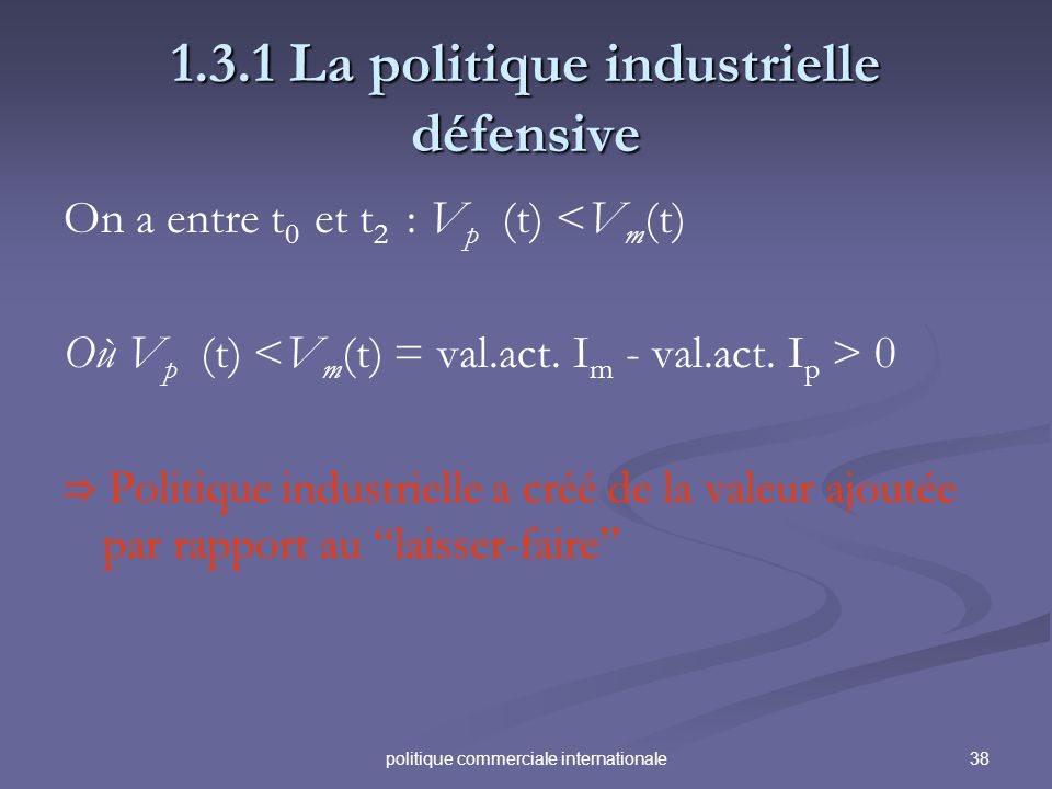 38politique commerciale internationale 1.3.1 La politique industrielle défensive On a entre t 0 et t 2 : V p (t) <V m (t) Où V p (t) 0 Politique industrielle a créé de la valeur ajoutée par rapport au laisser-faire