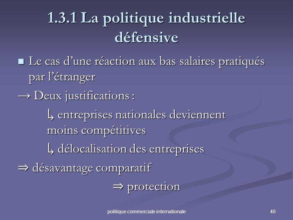 40politique commerciale internationale 1.3.1 La politique industrielle défensive Le cas dune réaction aux bas salaires pratiqués par létranger Le cas