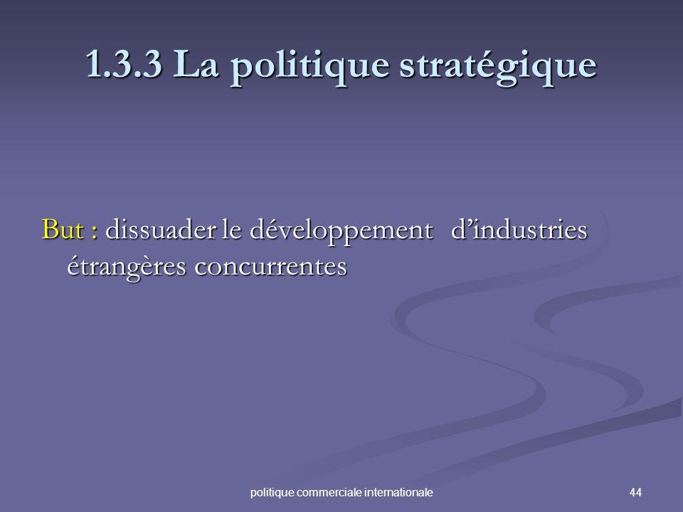 44politique commerciale internationale 1.3.3 La politique stratégique But : dissuader le développement dindustries étrangères concurrentes