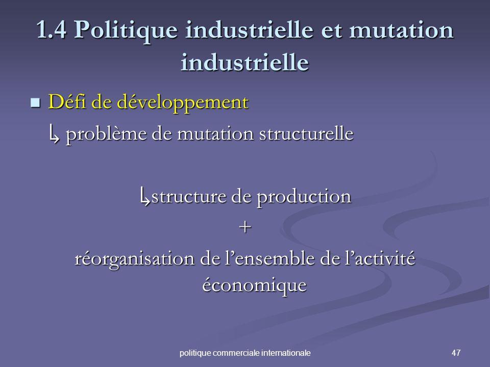 47politique commerciale internationale 1.4 Politique industrielle et mutation industrielle Défi de développement Défi de développement problème de mut