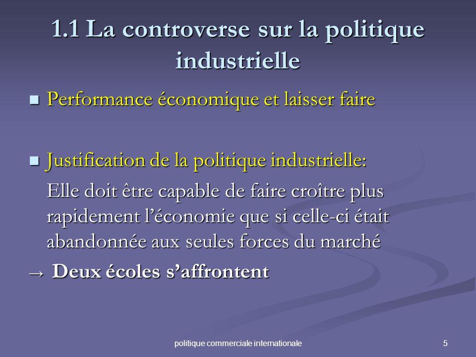 5politique commerciale internationale 1.1 La controverse sur la politique industrielle Performance économique et laisser faire Performance économique