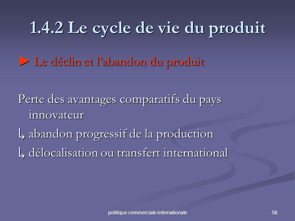 56politique commerciale internationale 1.4.2 Le cycle de vie du produit Le déclin et labandon du produit Le déclin et labandon du produit Perte des av