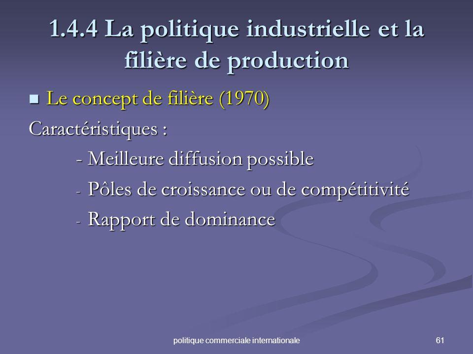 61politique commerciale internationale 1.4.4 La politique industrielle et la filière de production Le concept de filière (1970) Le concept de filière