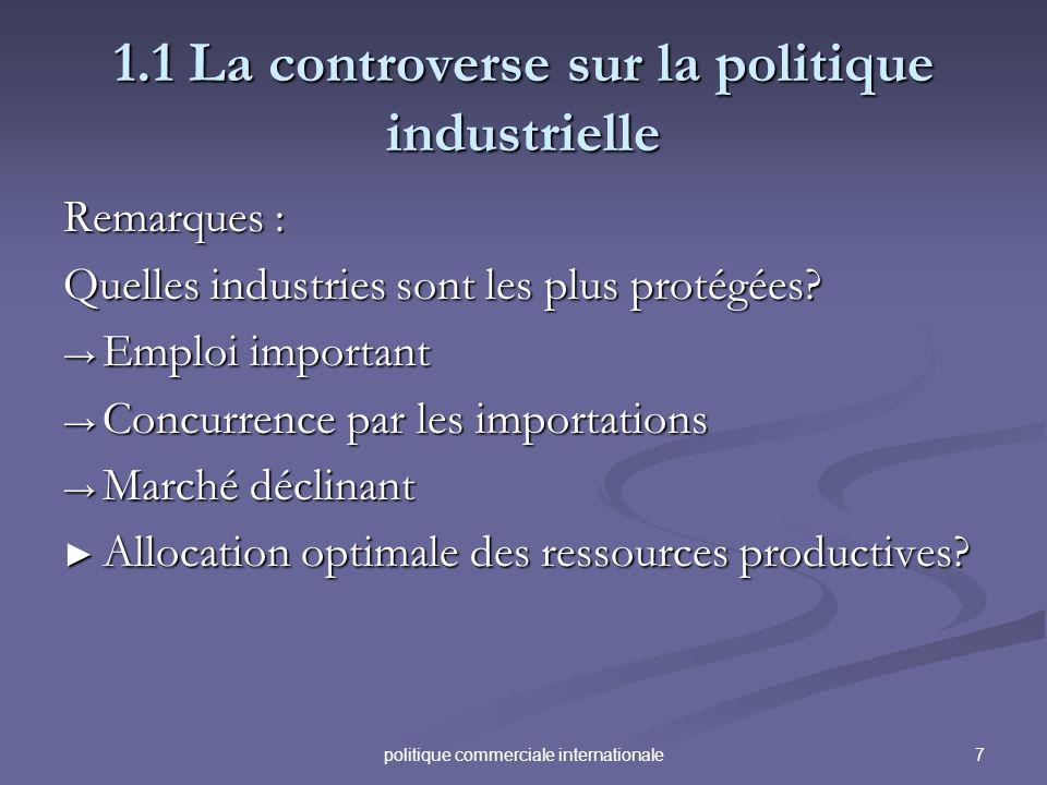 7politique commerciale internationale 1.1 La controverse sur la politique industrielle Remarques : Quelles industries sont les plus protégées? Emploi