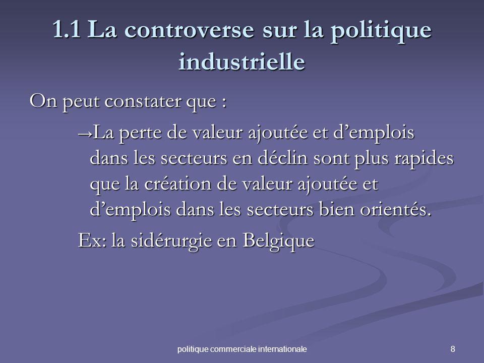 8politique commerciale internationale 1.1 La controverse sur la politique industrielle On peut constater que : La perte de valeur ajoutée et demplois