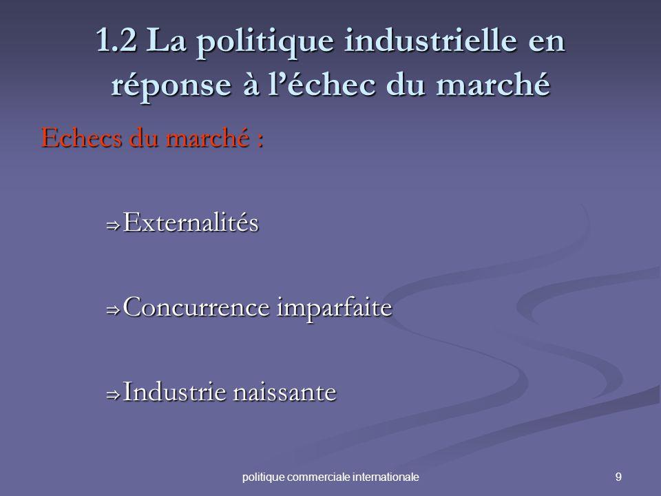 9politique commerciale internationale 1.2 La politique industrielle en réponse à léchec du marché Echecs du marché : Externalités Externalités Concurr