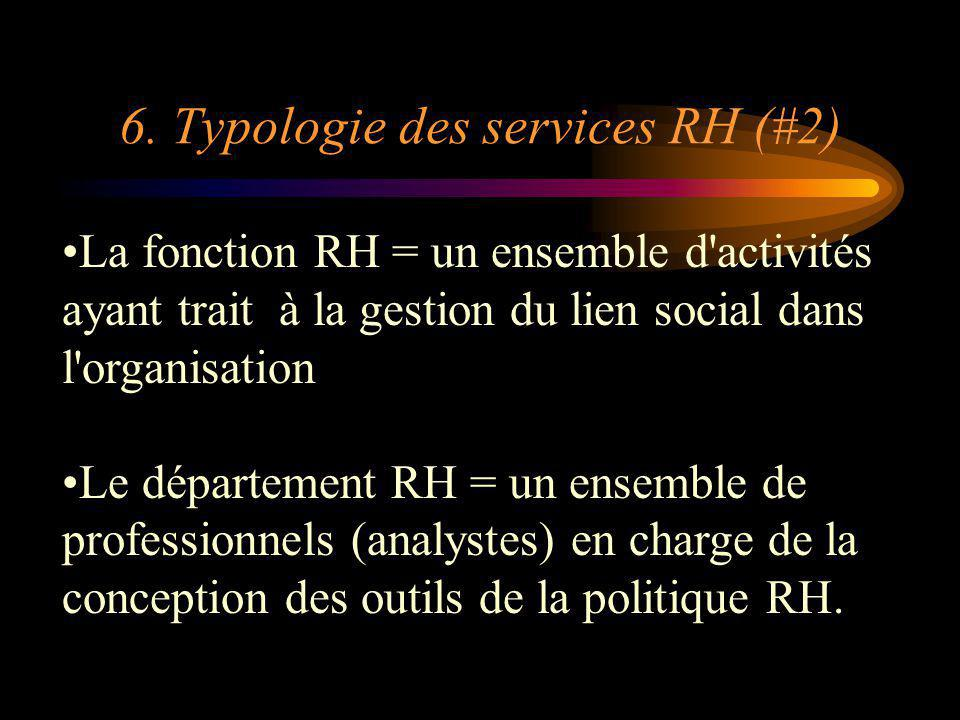 6. Typologie des services RH (#2) La fonction RH = un ensemble d'activités ayant trait à la gestion du lien social dans l'organisation Le département
