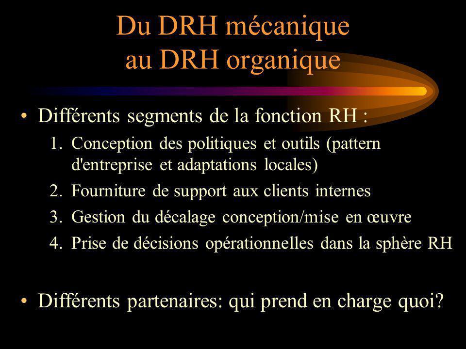 Du DRH mécanique au DRH organique Différents segments de la fonction RH : 1.Conception des politiques et outils (pattern d entreprise et adaptations locales) 2.