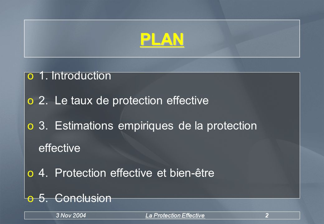 3 Nov 2004La Protection Effective2 PLAN o1. Introduction o2.