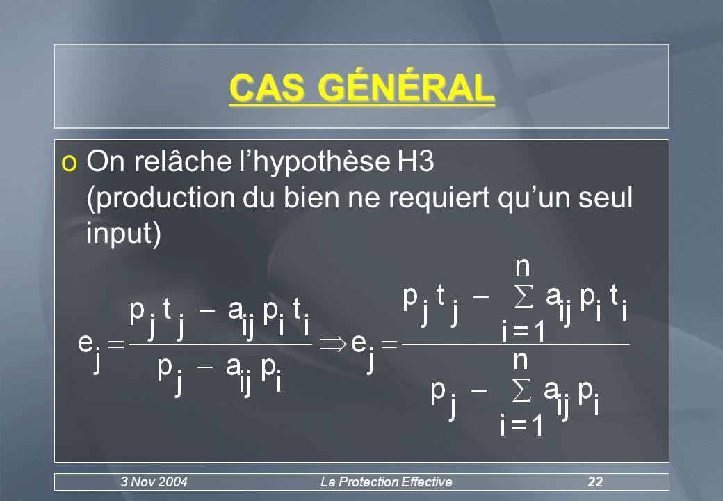 3 Nov 2004La Protection Effective22 CAS GÉNÉRAL oOn relâche lhypothèse H3 (production du bien ne requiert quun seul input)