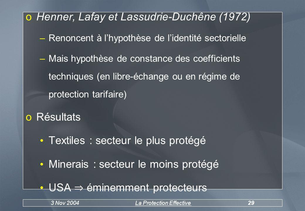 3 Nov 2004La Protection Effective29 oHenner, Lafay et Lassudrie-Duchêne (1972) –Renoncent à lhypothèse de lidentité sectorielle –Mais hypothèse de constance des coefficients techniques (en libre-échange ou en régime de protection tarifaire) oRésultats Textiles : secteur le plus protégé Minerais : secteur le moins protégé USA éminemment protecteurs