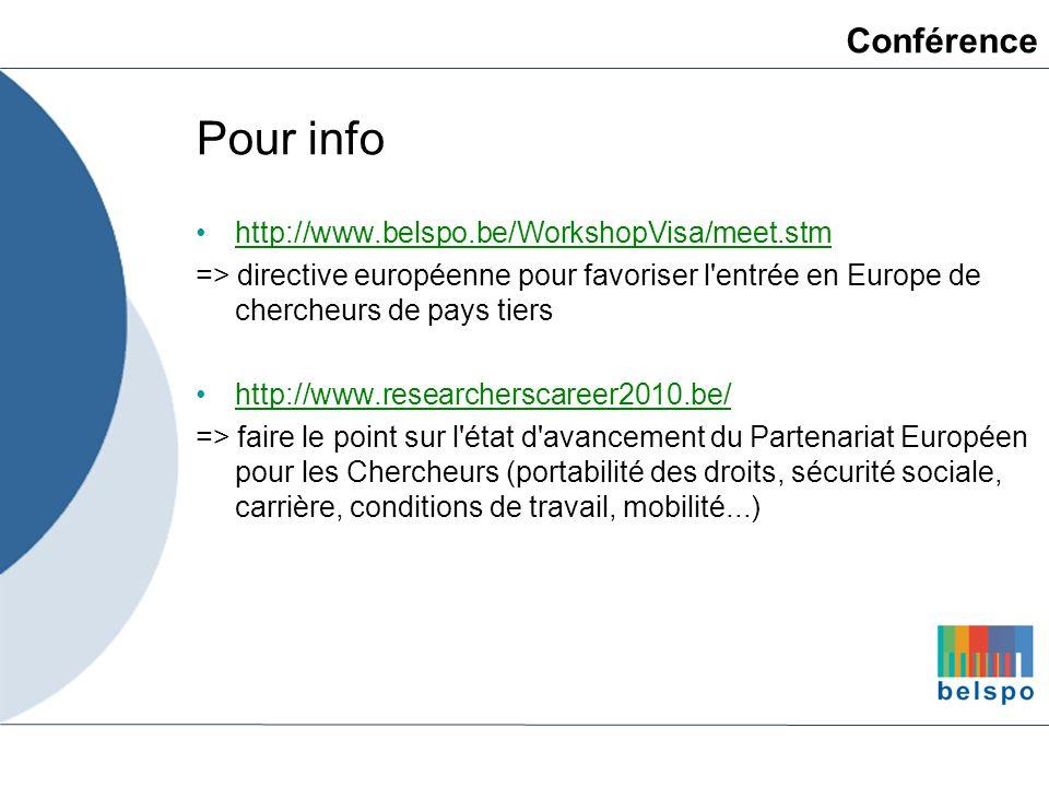 Pour info http://www.belspo.be/WorkshopVisa/meet.stm => directive européenne pour favoriser l'entrée en Europe de chercheurs de pays tiers http://www.