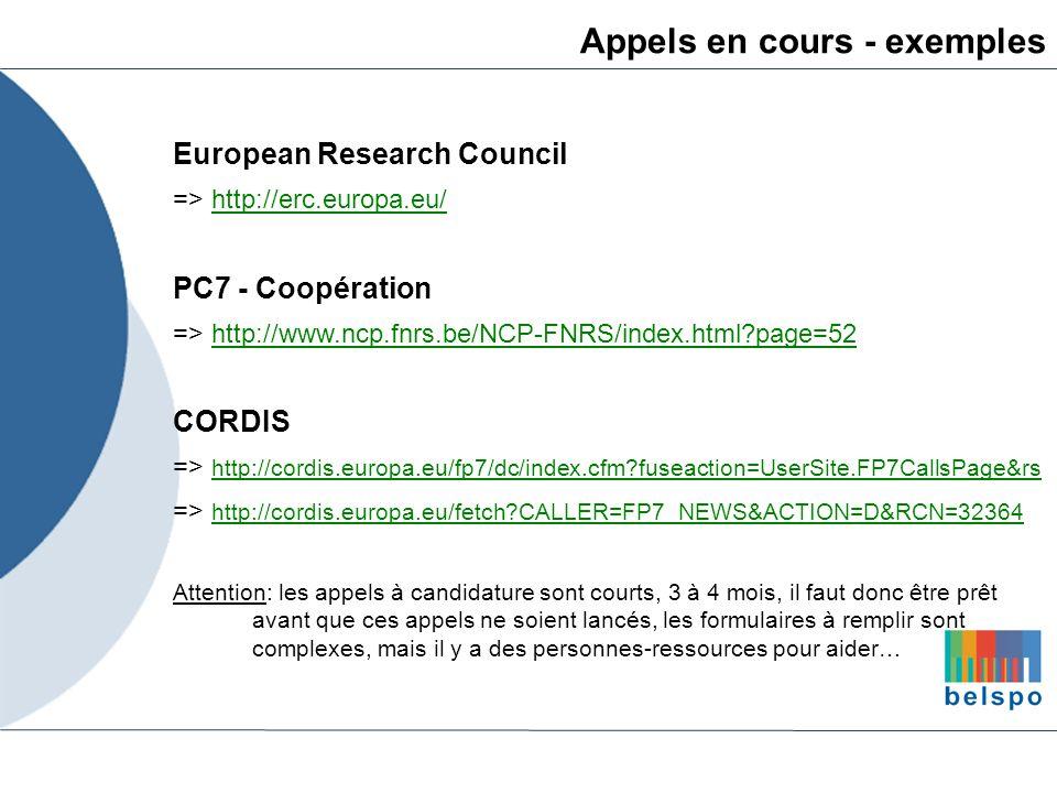 Appels en cours - exemples European Research Council => http://erc.europa.eu/http://erc.europa.eu/ PC7 - Coopération => http://www.ncp.fnrs.be/NCP-FNR