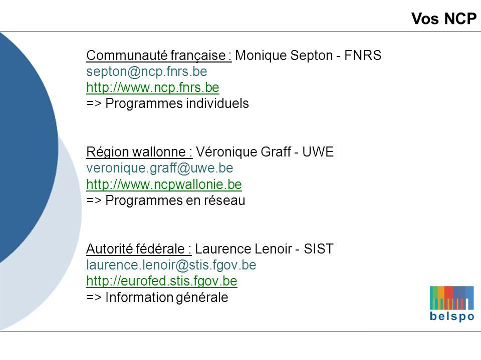 Communauté française : Monique Septon - FNRS septon@ncp.fnrs.be http://www.ncp.fnrs.be => Programmes individuels Région wallonne : Véronique Graff - U