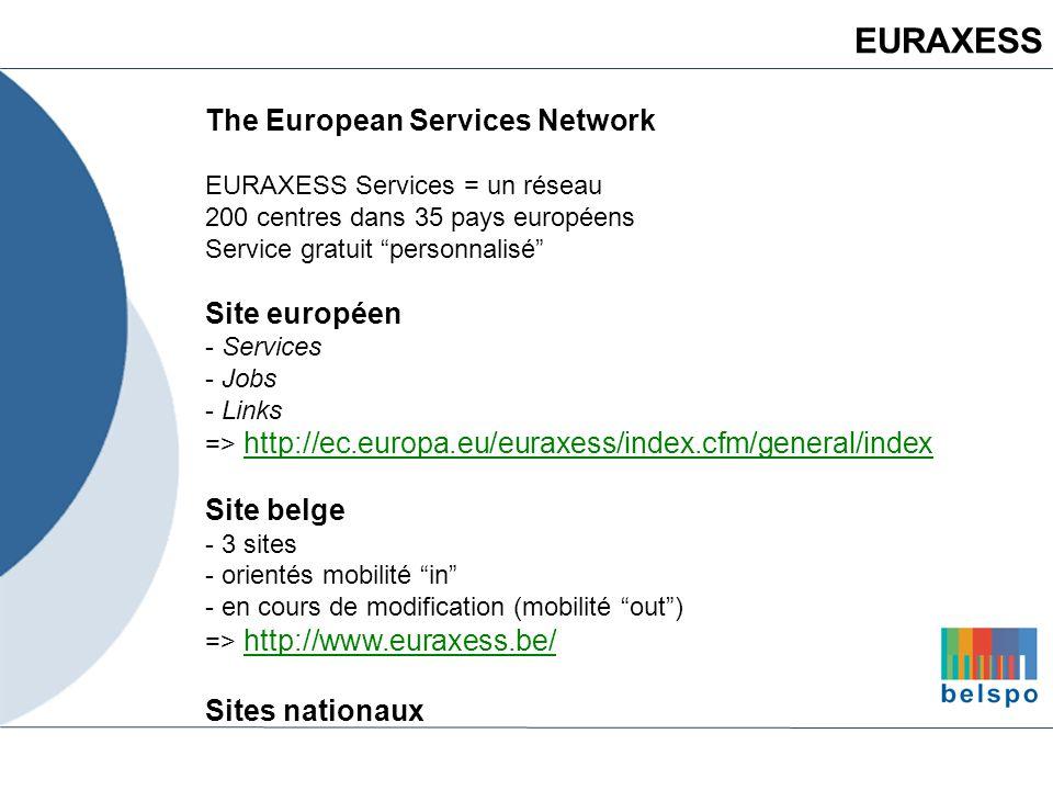 The European Services Network EURAXESS Services = un réseau 200 centres dans 35 pays européens Service gratuit personnalisé Site européen - Services -