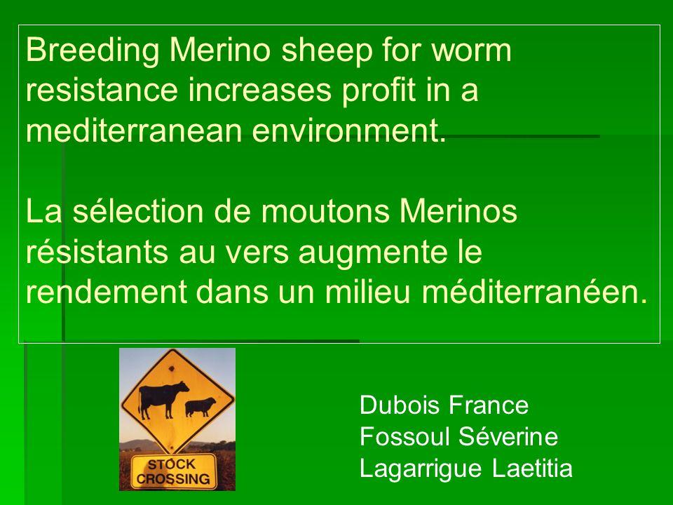 1.Objectif But de létude= prouver que la sélection de moutons résistants aux parasites gastro- intestinaux est plus rentable pour les éleveurs de moutons.