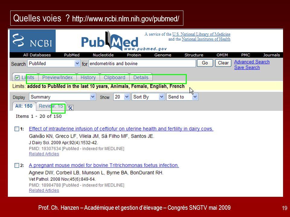 Prof. Ch. Hanzen – Académique et gestion délevage – Congrès SNGTV mai 2009 19 Quelles voies .