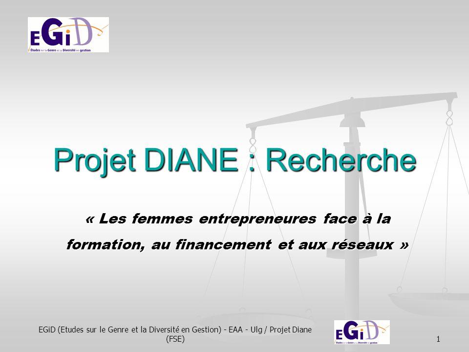 EGiD (Etudes sur le Genre et la Diversité en Gestion) - EAA - Ulg / Projet Diane (FSE)1 Projet DIANE : Recherche « Les femmes entrepreneures face à la formation, au financement et aux réseaux »