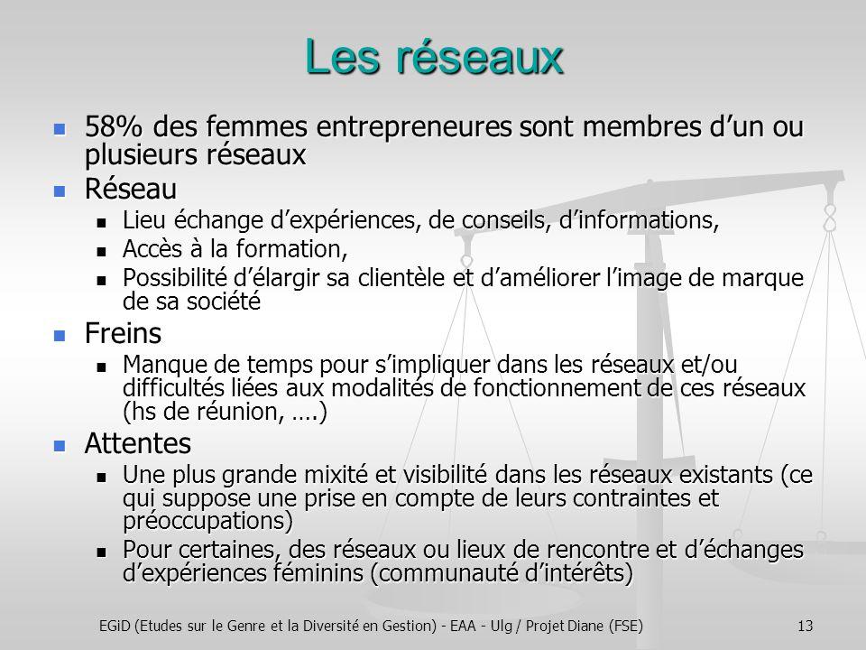 EGiD (Etudes sur le Genre et la Diversité en Gestion) - EAA - Ulg / Projet Diane (FSE)13 Les réseaux 58% des femmes entrepreneures sont membres dun ou