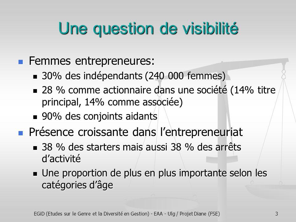 EGiD (Etudes sur le Genre et la Diversité en Gestion) - EAA - Ulg / Projet Diane (FSE)3 Une question de visibilité Femmes entrepreneures: Femmes entre