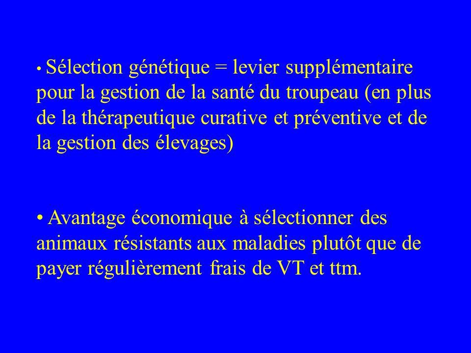 Sélection génétique = levier supplémentaire pour la gestion de la santé du troupeau (en plus de la thérapeutique curative et préventive et de la gesti