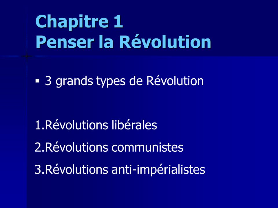 3 grands types de Révolution 1.Révolutions libérales 2.Révolutions communistes 3.Révolutions anti-impérialistes Chapitre 1 Penser la Révolution
