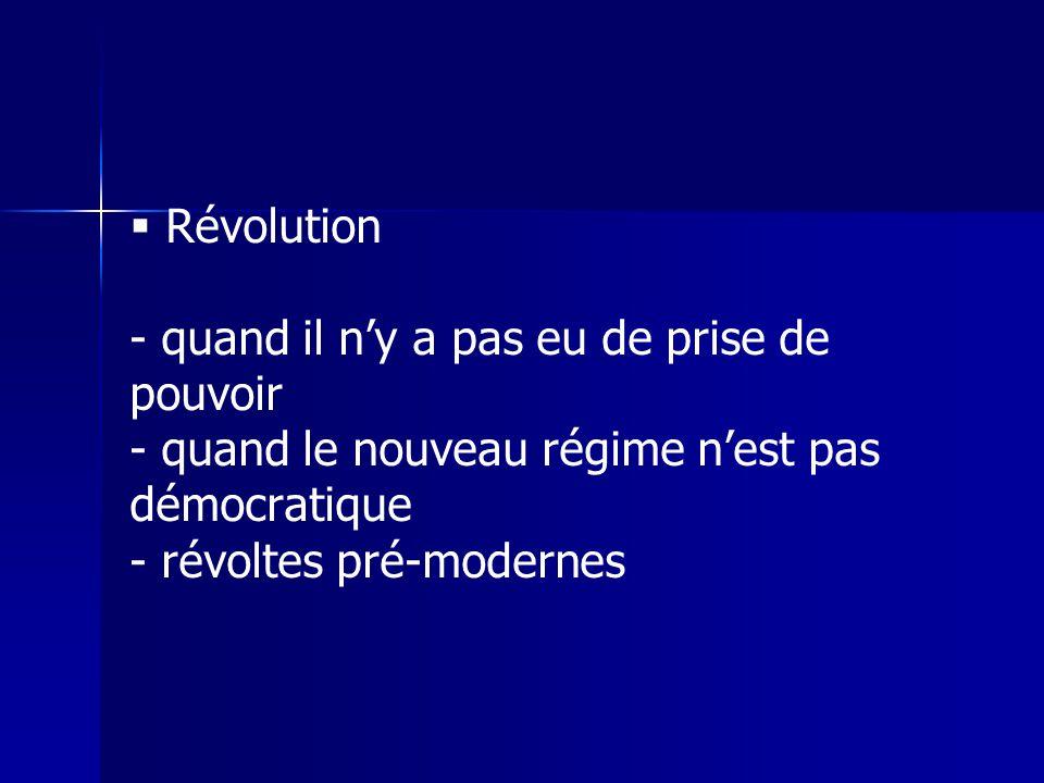 Révolution - quand il ny a pas eu de prise de pouvoir - quand le nouveau régime nest pas démocratique - révoltes pré-modernes
