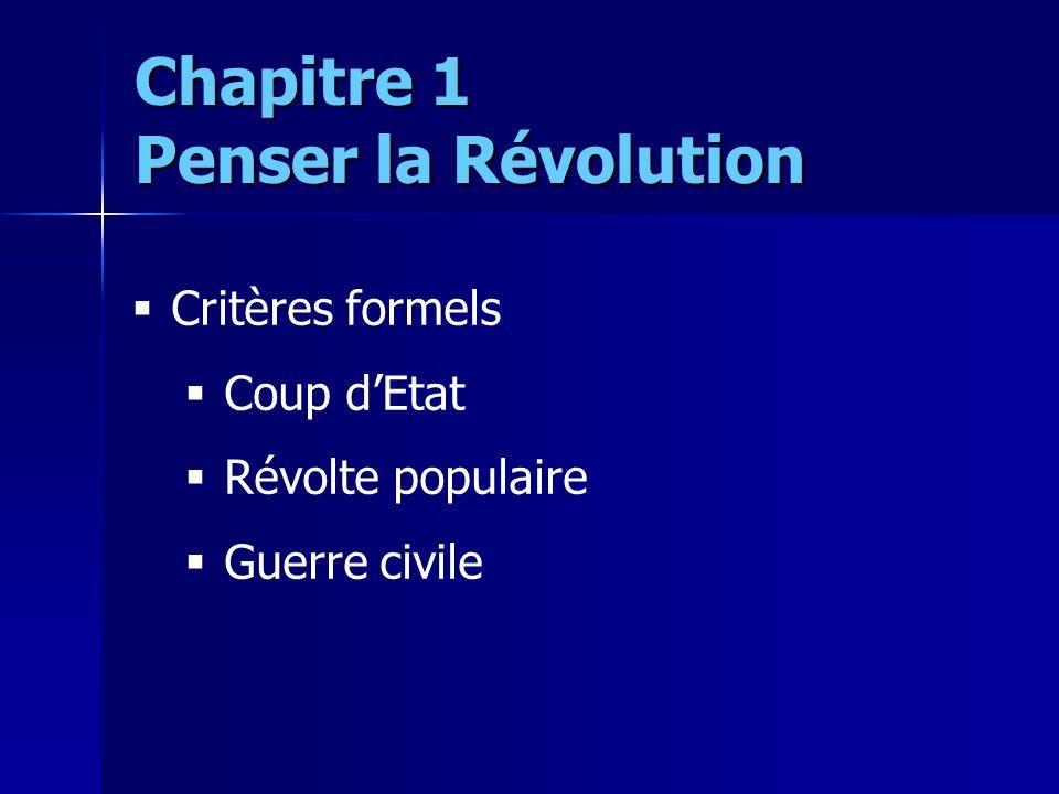 Critères formels Coup dEtat Révolte populaire Guerre civile Chapitre 1 Penser la Révolution